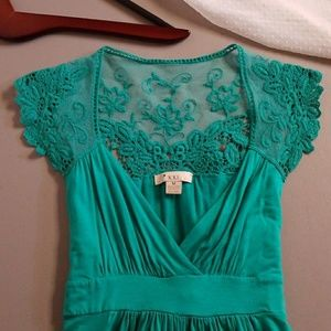 Forever 21 teal lace babydoll tie-waist top M